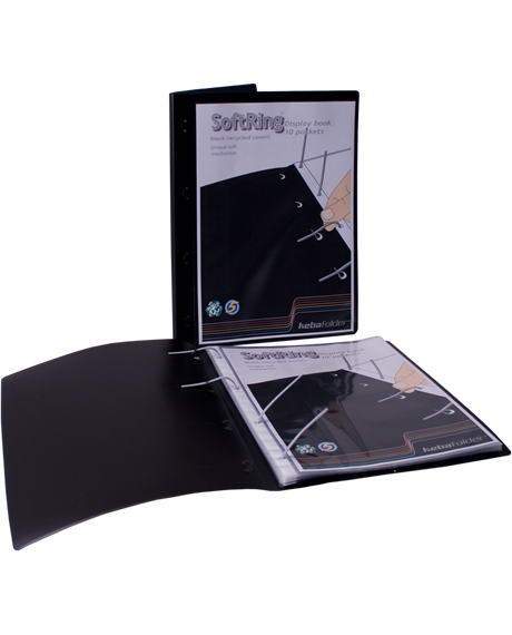 KEBAfolder Softring display book;black w pocket 3x80 incl 10 pockets